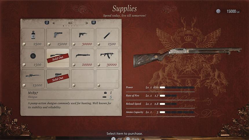 Mercenaries supplies menu