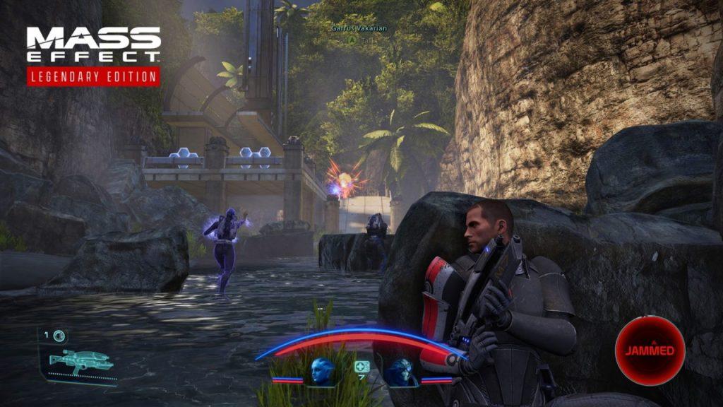 Shepard taking cover in a gunfight.