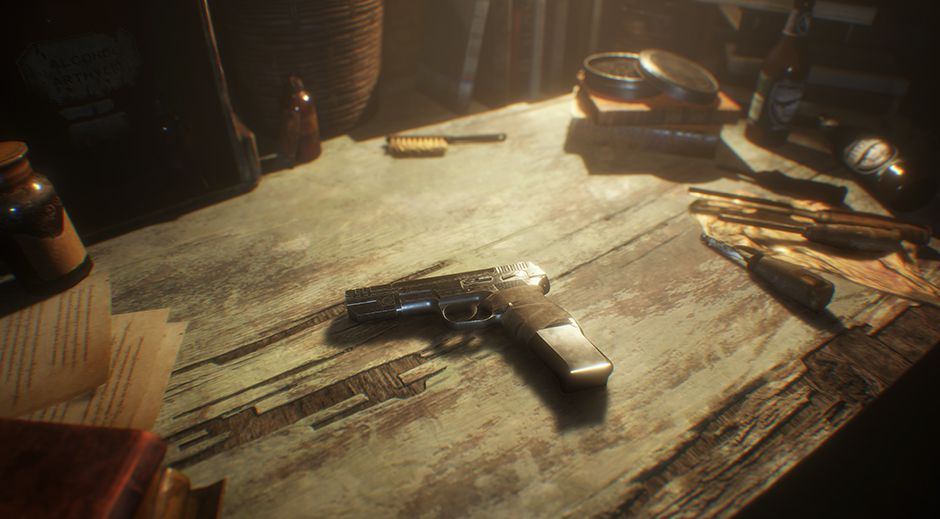Ethan's handgun laying on the upgrade table.
