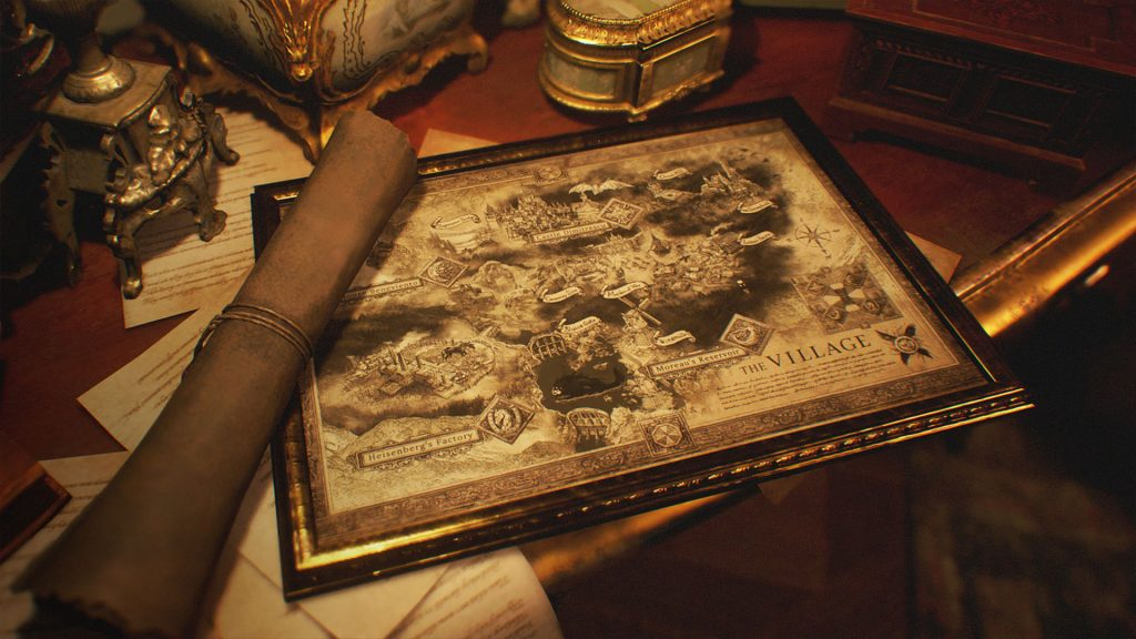 An ornately-decorated map of the game's titular village.