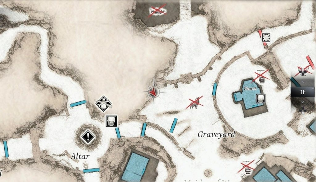 A close-up of Resident Evil Village's map screen