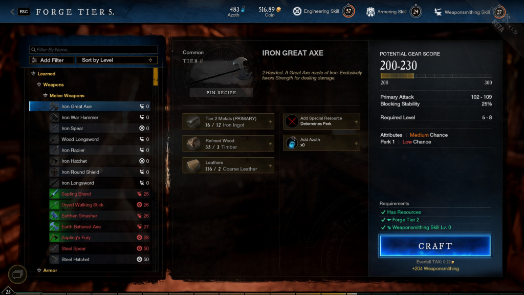 New World crafting guide weaponsmithing